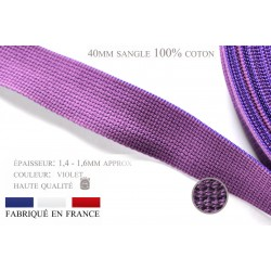 1m x 40mm Sangle / 100% coton / Fabriqué en France / violet