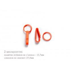 2 x 27,5mm Mousquetons / Plastique / Pour Gants / Orange