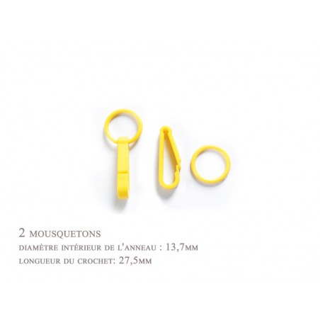 2 x 27,5mm Mousquetons / Plastique / Pour Gants / Jaune