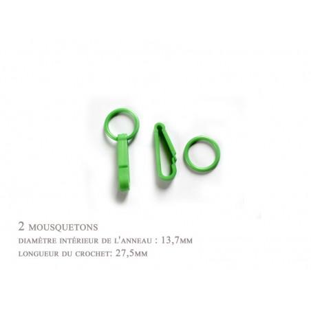 2 x 27,5mm Mousquetons / Plastique / Pour Gants / Vert