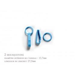 2 x 27,5mm Mousquetons / Plastique / Pour Gants / Bleu Clair
