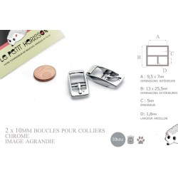 2 x 10mm Boucles pour colliers / Métal / Chrome