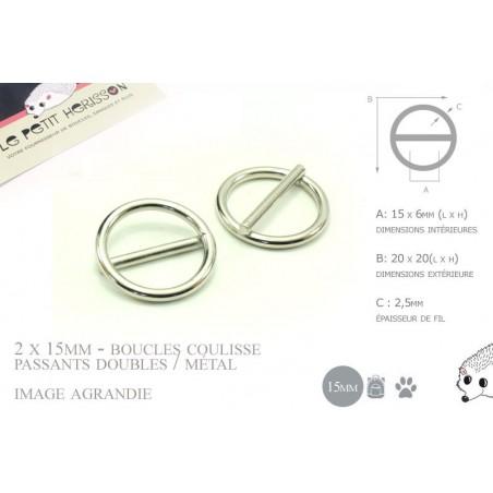 2 x 15mm Boucles Coulisse / Passants Doubles / Métal / Rond / Nickel
