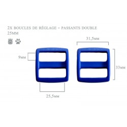 2 x 25mm Boucles Coulisse / Passants Doubles / Plastique / bleu