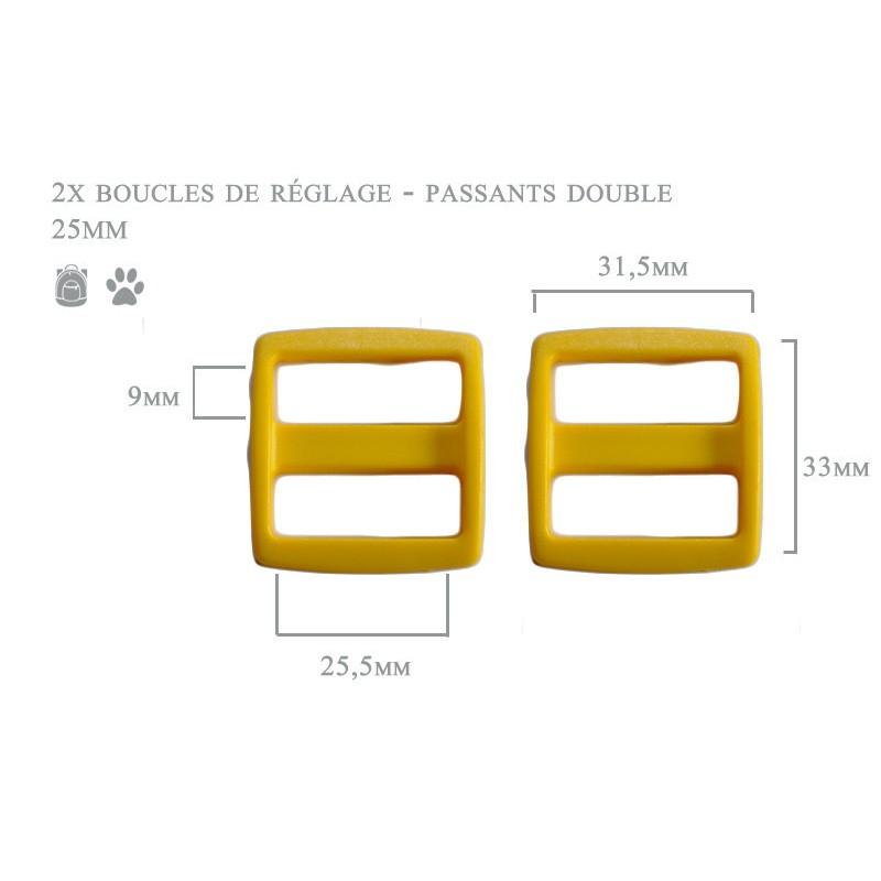 2 x 25mm Boucles Coulisse / Passants Doubles / Plastique / jaune