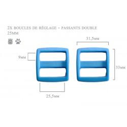 2 x 25mm Boucles Coulisse / Passants Doubles / Plastique / bleu clair