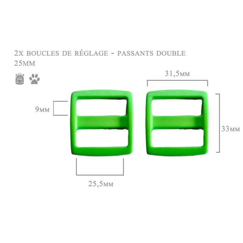 2 x 25mm Boucles Coulisse / Passants Doubles / Plastique / vert