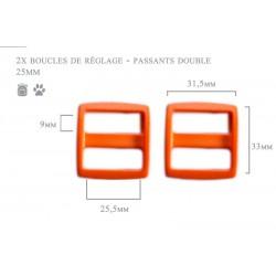2 x 25mm Boucles Coulisse / Passants Doubles / Plastique / orange