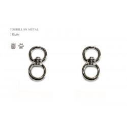 2 x 10mm Connecteurs Pivotants / Tourillons / Métal / Nickel