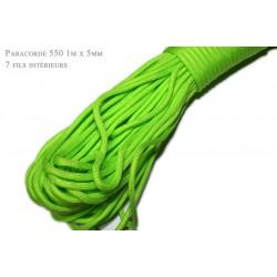 1m x 4mm Paracorde 550 / 17 uni / vert neon