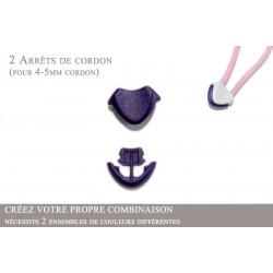 2 Arrêts de cordon / Cœur / Plastique / Violet