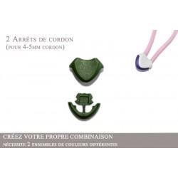 2 Arrêts de cordon / Cœur / Plastique / Vert Fonce