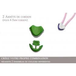 2 Arrêts de cordon / Cœur / Plastique / Vert