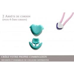 2 Arrêts de cordon / Cœur / Plastique / Turquoise Clair