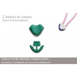 2 Arrêts de cordon / Cœur / Plastique / Turquoise