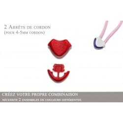 2 Arrêts de cordon / Cœur / Plastique / Rouge