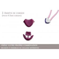 2 Arrêts de cordon / Cœur / Plastique / Prune