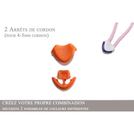2 Arrêts de cordon / Cœur / Plastique / Orange