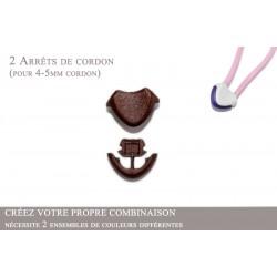 2 Arrêts de cordon / Cœur / Plastique / Marron Fonce