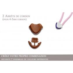 2 Arrêts de cordon / Cœur / Plastique / Marron