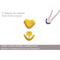 2 Arrêts de cordon / Cœur / Plastique / Jaune