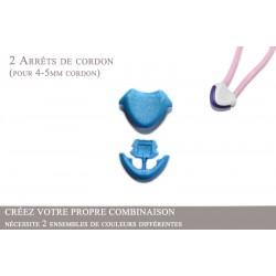 2 Arrêts de cordon / Cœur / Plastique / Bleu Clair
