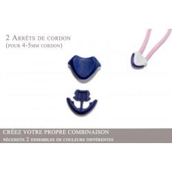 2 Arrêts de cordon / Cœur / Plastique / Bleu