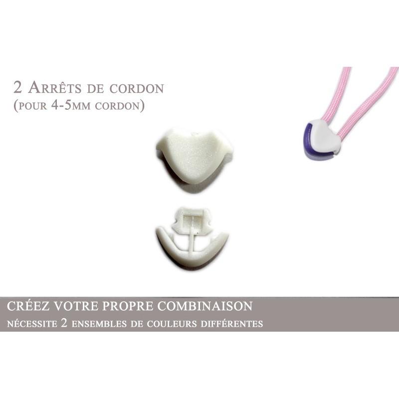2 Arrêts de cordon / Cœur / Plastique / Blanc