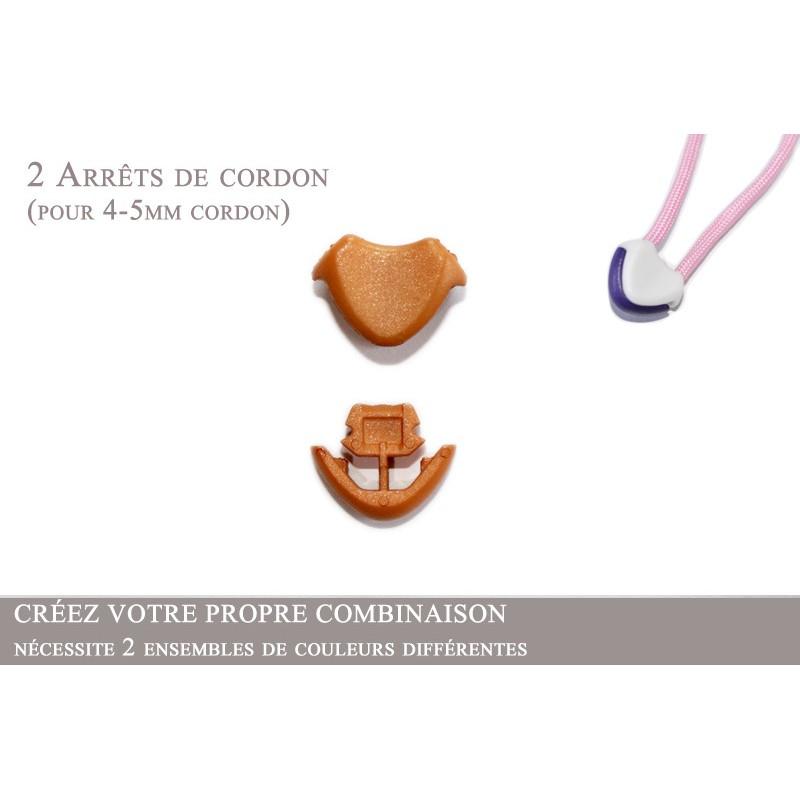 2 Arrêts de cordon / Cœur / Plastique / Beige