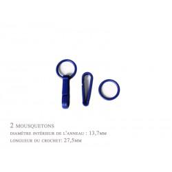 2 x 27,5mm Mousquetons / Plastique / bleu / Pour Gants