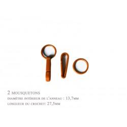 2 x 27,5mm Mousquetons / Plastique / marron / Pour Gants