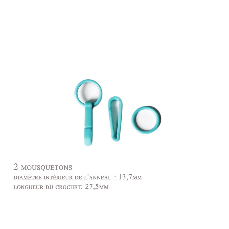 2 x 27,5mm Mousquetons / Plastique / turquoise / Pour Gants