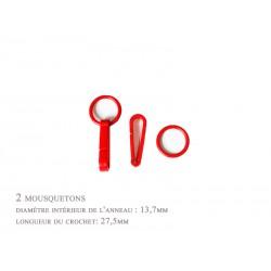 2 x 27,5mm Mousquetons / Plastique / rouge / Pour Gants