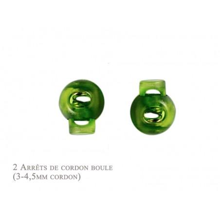 2 Arrêts de cordon / Boule /  Plastique / Vert Translucide