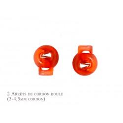 2 Arrêts de cordon / Boule /  Plastique / Orange Translucide