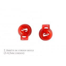 2 Arrêts de cordon / Boule /  Plastique / Rouge Translucide