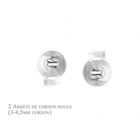 2 Arrêts de cordon / Boule /  Plastique / Blanc Translucide