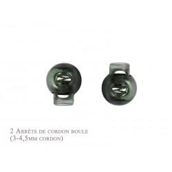 2 Arrêts de cordon / Boule /  Plastique / Vert Fonce Translucide