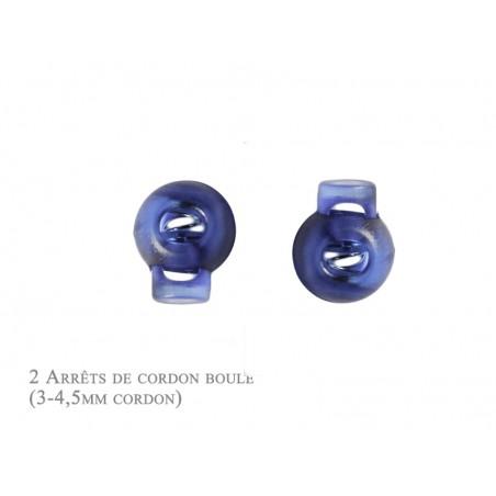2 Arrêts de cordon / Boule /  Plastique / Bleu Translucide