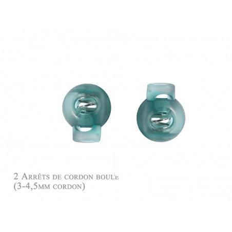 2 Arrêts de cordon / Boule /  Plastique / Turquoise Translucide