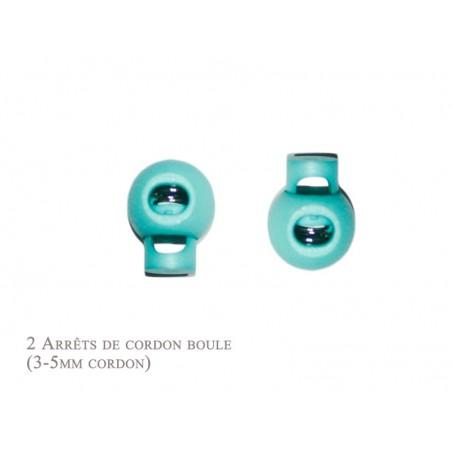 2 Arrêts de cordon / Boule / Plastique / Turquoise Clair