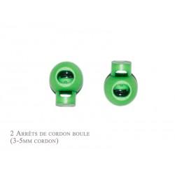 2 Arrêts de cordon / Boule / Plastique / Vert Clair