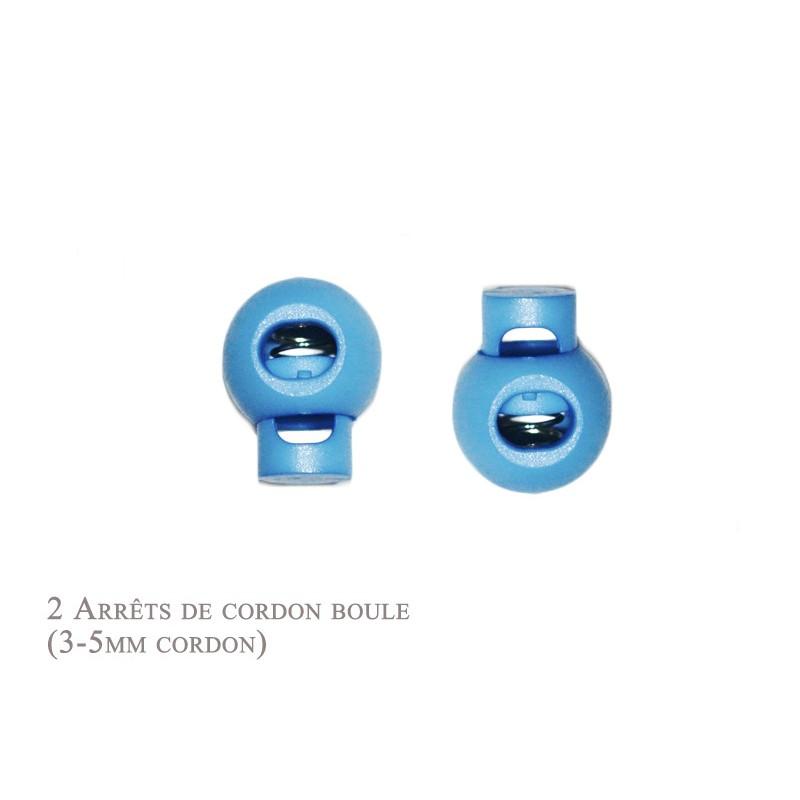 2 Arrêts de cordon / Boule / Plastique / Bleu Clair