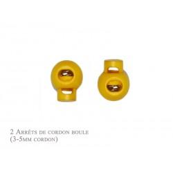 2 Arrêts de cordon / Boule / Plastique / Jaune