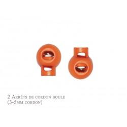 2 Arrêts de cordon / Boule / Plastique / Orange