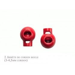 2 Arrêts de cordon / Boule / Plastique / Rouge