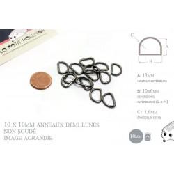 10 x 10mm Anneaux demi lunes / Metal / Pas Soudé / Gunmetal