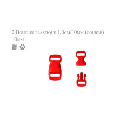 2 x 10mm Boucles Attache Rapide / Fermoirs Clips / Plastique / rouge