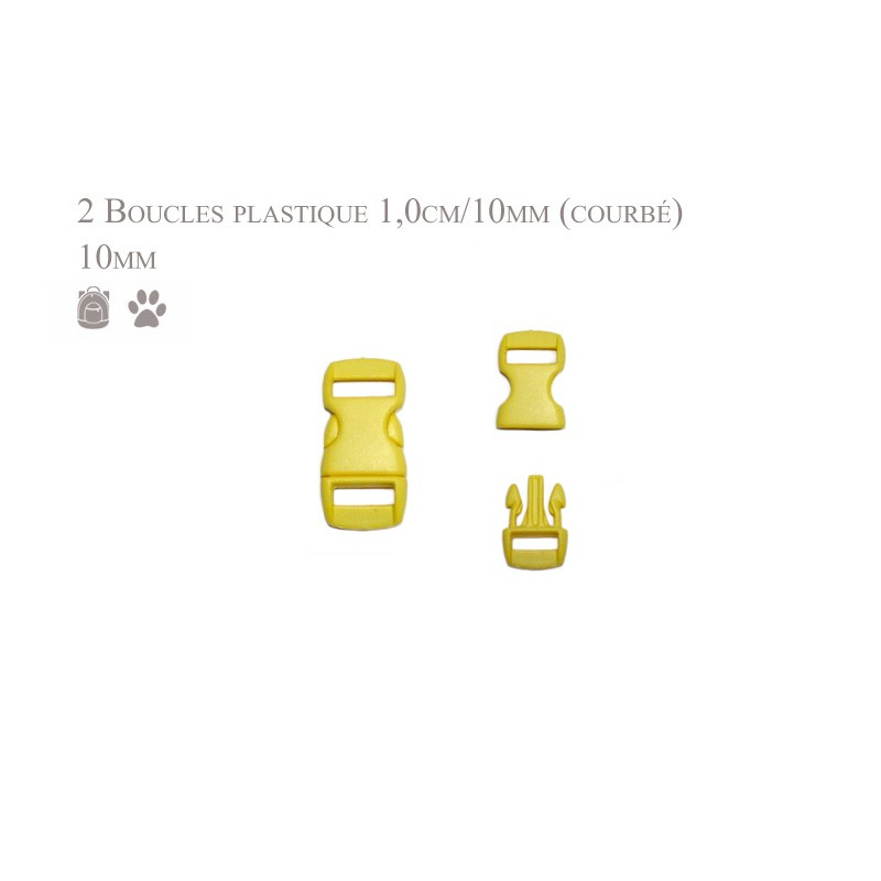2 x 10mm Boucles Attache Rapide / Fermoirs Clips / Plastique / jaune