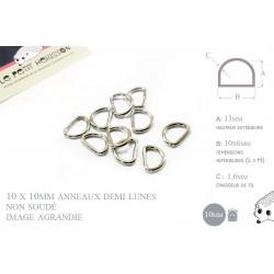 10 x 10mm Anneaux demi lunes / Metal / Pas Soudé / Nickel